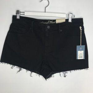 NWT high rise shortie shorts Black raw edge